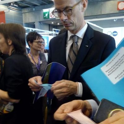 Congrès ABF 2019- Franck Riester sur le stand COBIAC